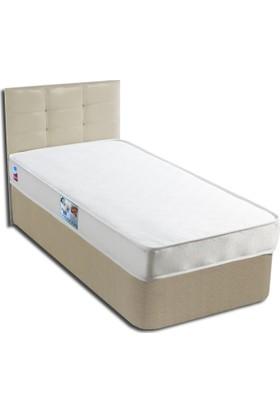 Derman Yatak Tek kişilik Ekonomik Kumaş Baza Başlık Yatak Seti 90x190 cm Krem