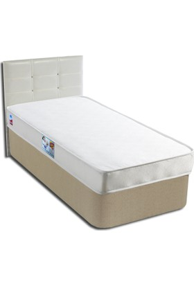 Derman Yatak Tek kişilik Ekonomik Kumaş Baza Başlık Yatak Seti 90x190 cm Beyaz