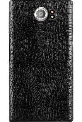 Microcase Blackberry Priv Crocodile Timsah Deri Kaplama Sert Rubber Kılıf