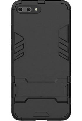 Microcase Huawei P10 Plus Alfa Serisi Armor Standlı Koruma Kılıfı + Tempered Cam