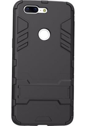 Microcase Oneplus 5T Alfa Serisi Armor Standlı Perfect Koruma Kılıf + Tempered Cam