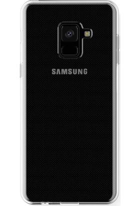 Microcase Samsung A8 Plus 2018 Silikon Koruma Kılıfı + Tempered Cam
