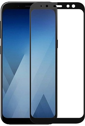 Microcase Samsung Galaxy A8 Plus 2018 Tam Kaplayan Çerçeveli Tempered Cam