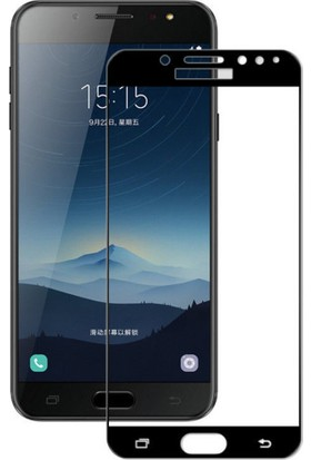 Microcase Samsung Galaxy C8 Tam Kaplayan Çerçeveli Tempered Cam Koruma