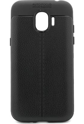 Microcase Samsung Galaxy J2 Pro 2018 Leather Effect TPU Silikon Kılıf + Tempered Cam