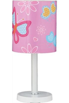 Trendylight Kelebek Pembe Renkli Çoçuk Odası Masa Lambası