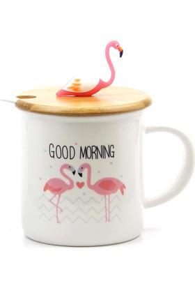 Arma House Flamingo Motifli Bambu Kapaklı Ve Kaşıklı Seramik Kupa Bardağı