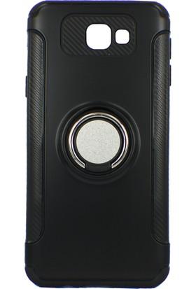 Case 4U Samsung Galaxy J5 Prime Kılıf Yüzüklü Darbeye Dayanıklı Siyah (Mıknatıslı Araç Tutucu Uyumlu)