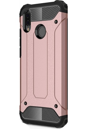 KNY Huawei P20 Lite Kılıf Çifft Katmanlı Armour Case Silikon + Cam Ekran Koruyucu