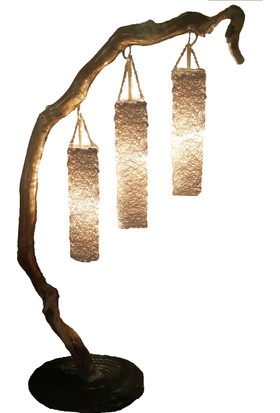 Eşsiz Dekoratif Doğal Ağaç Lambader Köşe Aydınlatma