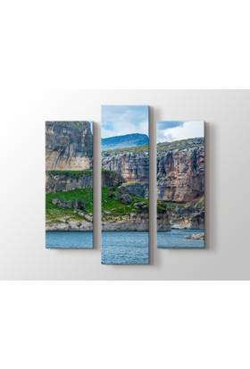 Dekorme Dağ Göl 3 Parçalı Kanvas Tablo