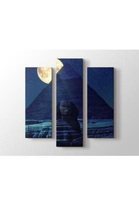 Dekorme Piramit 3 Parçalı Kanvas Tablo