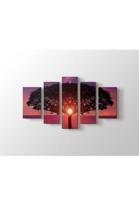 Dekorme Ağaç 5 Paraçlı Kanvas Tablo