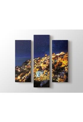 Dekorme Santorini, Greece 3 Parçalı Kanvas Tablo