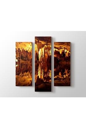 Dekorme Karain Mağarası 3 Paraçlı Kanvas Tablo