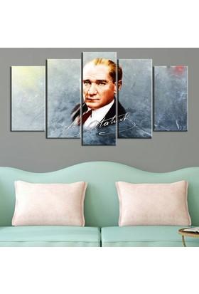 Dekorme Atatürk 5 Parçalı Kanvas Tablo