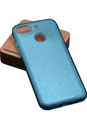 Case 4U General Mobile GM 8 Go Kılıf Shining Simli Silikon Arka Kapak - Açık Mavi