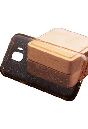 Case 4U Samsung Galaxy J2 Pro Kılıf Simli Silikon Arka Kapak - Altın - Şeffaf