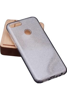 Case 4U Huawei P Smart Kılıf Parıltılı Sert Silikon Arka Kapak - Gümüş Gri