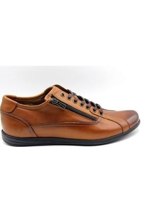 White World Fermuarlı Bağlı Taba Renk Günlük Deri Erkek Ayakkabı