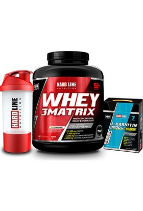 Hardline Nutrition Whey 3 Matrix Çikolata 2300 Gr + L- Karnitin Matrix 3000 Mg 7 Adet + Shaker