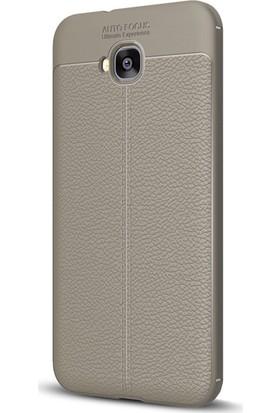 Microsonic Asus Zenfone 4 Selfie (5.5'') ZD553KL Kılıf Deri Dokulu Silikon Gri