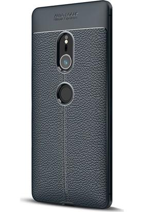 Microsonic Sony Xperia XZ2 Kılıf Deri Dokulu Silikon Lacivert