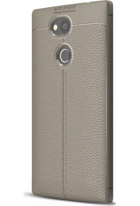 Microsonic Sony Xperia L2 Kılıf Deri Dokulu Silikon Gri
