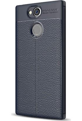 Microsonic Sony Xperia XA2 Kılıf Deri Dokulu Silikon Lacivert