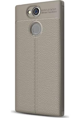 Microsonic Sony Xperia XA2 Kılıf Deri Dokulu Silikon Gri