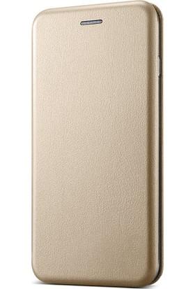 Microsonic Sony Xperia XZ1 Kılıf Ultra Slim Leather Design Flip Cover Gold