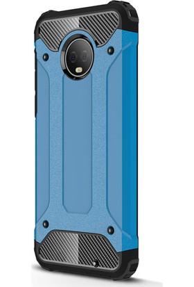 Microsonic Motorola Moto G6 Plus Kılıf Rugged Armor Mavi