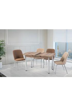 Gül Masa Sandalye Mutfak Masaları Takımı 4 Adet Sandalyeli
