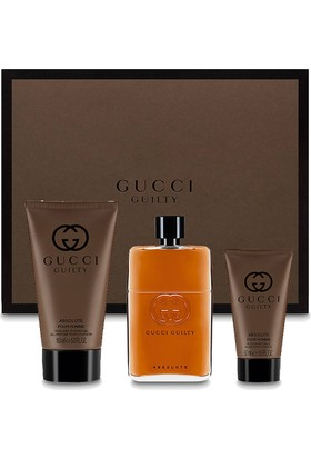 Gucci Guilty Absolute Pour Homme Edp 90 Ml + Duş Jeli 150 Ml + Traş Sonrası Balsam 50 Ml Erkek Parfüm Seti