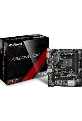 Asrock A320M-HDV AMD A320 3200MHz+ (OC) DDR4 AM4 Soket mATX Anakart (ASRA320M-HDV)