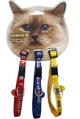 Eurocat Bayrak Desenli Çıngıraklı Kedi Boyun Tasması 3'lü