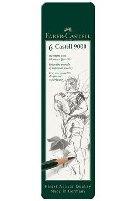 Castell 9000 Dereceli Kalem Seti6'lı Metal Kutu