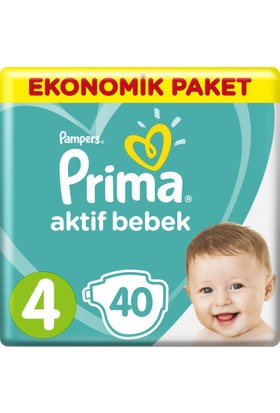 Prima Bebek Bezi Aktif Bebek 4 Beden Maxi Ekonomik Paket 40 Adet