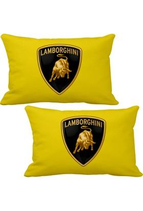 Asr Lamborghini 2 li Lüks Araç Boyun Yastığı Sarı