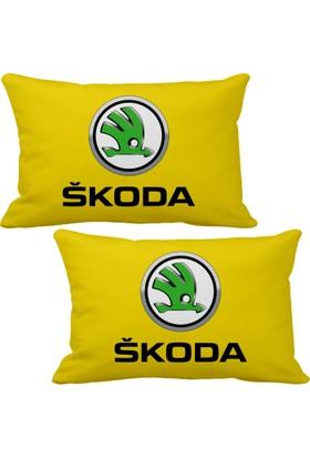 Asr Skoda 2 li Lüks Araç Boyun Yastığı Sarı