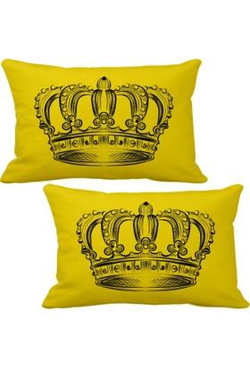 Asr Taç Crown 2 li Lüks Araç Boyun Yastığı Sarı