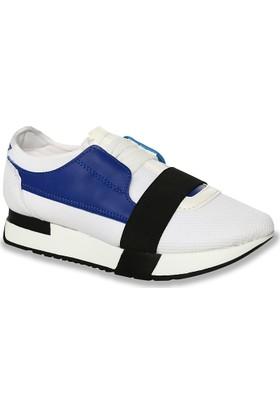 Iva Mae 1081- Beyaz Anorak Saks Kadın Sneaker