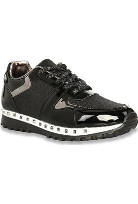 Iva Mae 1101- Siyah Rugan Siyah Simli Kadın Sneaker