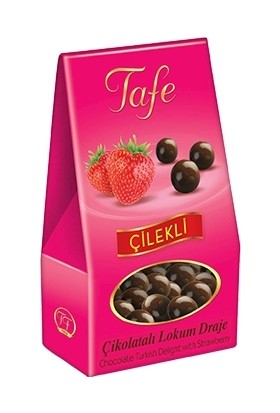 Tafe Çilekli Çikolatalı Lokum Draje Dik Kutu 2 Adet x 60 gr
