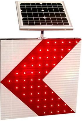İleritrafik Güneş Enerjili Tehlikeli Viraj Yön Levhası T33a 600x600x80 mm