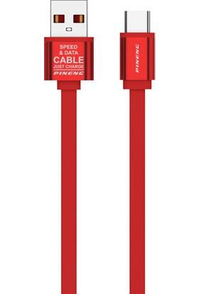 Pineng PN311 Yüksek Hızlı Type C 1 Metre Data Şarj Kablosu Kırmızı