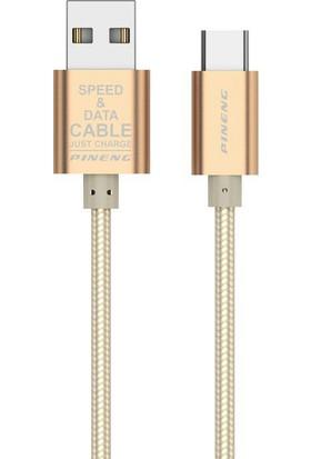 Pineng PN-312 Dayanıklı Yüksek Hızlı Type C 1 Mt Data Şarj Kablosu