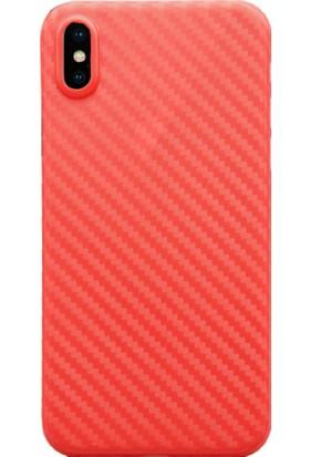 AntDesign iPhone X Karbon Desen Ultra İnce Kılıf Kırmızı