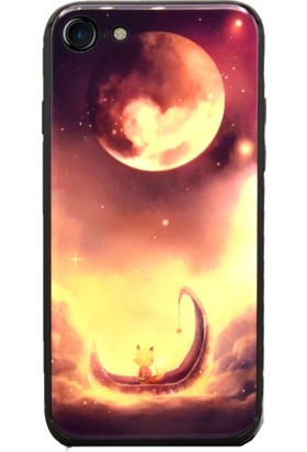 AntDesign iPhone 7 / iPhone 8 Cam Baskı Desenli Kılıf Red Moon