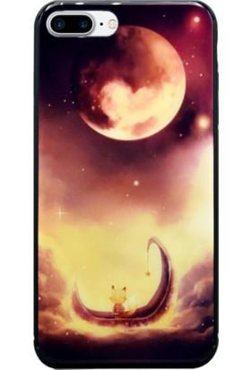AntDesign iPhone 7 Plus / 8 Plus Cam Baskı Desenli Kılıf Red Moon